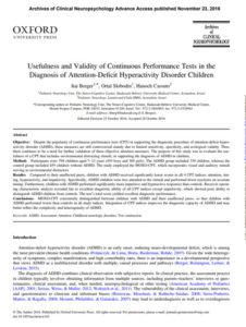 DEHB Tanısında Sürekli Performans Testlerinin Kullanışlılığı ve Geçerliliği