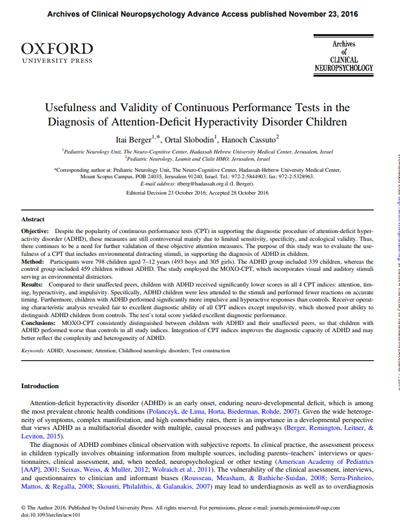 DEHB Tanısında Sürekli Performans Testlerinin Kullanışlılığı ve Geçerliliği – Norm Çalışması