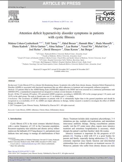 Kistik Fibrozis Hastalarında Dikkat Eksikliği ve Hiperaktivite Bozukluğu Semptomları