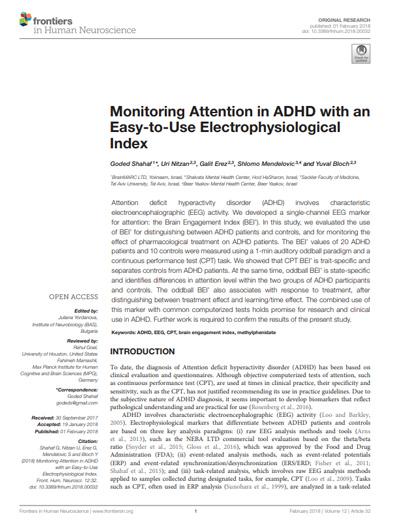 Kullanımı Kolay Olan Bir Elektrofizyolojik İndeks ile DEHB'de Dikkatin İzlenmesi